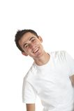 Young Man. Smiling young man over white background royalty free stock photography