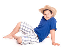 Young man. Picture a young man in a hat that sits on a white background Royalty Free Stock Photos