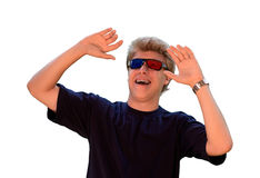 Young man with 3d glasses. Young man 3d glasses a over white background Stock Image