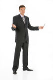 Young Man. In business suit on isolated background stock photography