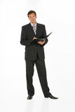 Young Man. In business suit on isolated background royalty free stock images