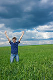 Young man achieved his goal!. Young man achieved his goal concept royalty free stock image