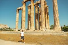 Young man at the acient acropolis stock image