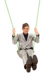 Young man in acrobatic tricks on rope Royalty Free Stock Images