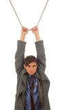 Young man in acrobatic tricks on rope Royalty Free Stock Image