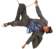 Young man in acrobatic tricks on rope Stock Images