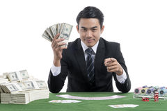 The young man acting challenge gambler Royalty Free Stock Photos