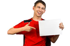 Young man with the advertisement Stock Photos
