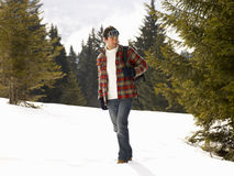 Young Man In Alpine Snow Scene Stock Photography
