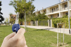 Young Man And New Home, Door Key In Hand Stock Image
