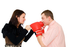 Young Man And Woman Boxing Stock Photo