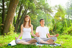 Free Young Man And Woman Doing Yoga In Garden Stock Photo - 34445320