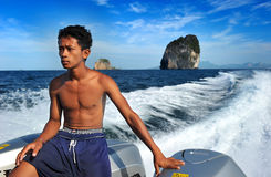 Young man of Andaman speed boat worker Stock Images