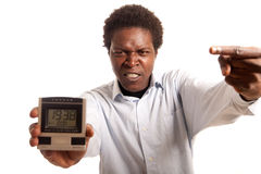 Young man angry clock Stock Photos