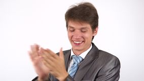 Young man applauding. White background stock video
