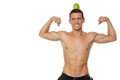 Young man with apple on head Royalty Free Stock Images