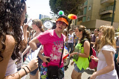 Young man arguing at Pride Parade in TA Royalty Free Stock Photos