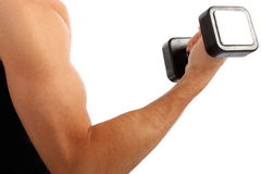 Young Man Arm Holding Weight Closeup Stock Photos