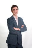Young man arms crossed. Professional young man with suit arms crossed Royalty Free Stock Photo