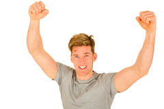 Young man with arms up Royalty Free Stock Photos