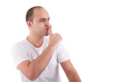 Young man asking for silence Royalty Free Stock Photography