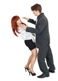 Young man attacks a woman. A young man attacks a woman, isolated on a white background Stock Image