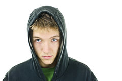 Young man with attitude. Wearing hoodie isolated on white background stock photo