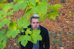 Young Man In Autumn Landscape Royalty Free Stock Photography