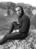 Black and white photo of autumn trekking tour royalty free stock photos