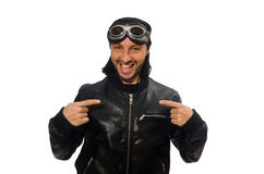 The young man with aviator glasses on white Royalty Free Stock Images