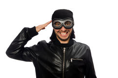 The young man with aviator glasses on white Royalty Free Stock Photos