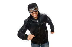 The young man with aviator glasses on white Royalty Free Stock Image