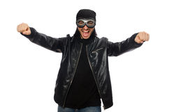 The young man with aviator glasses on white Stock Image