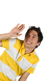Young man in avoid action Royalty Free Stock Photos