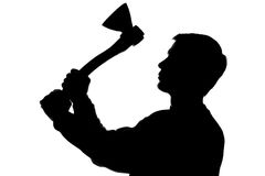 Young man with an ax in his hand - silhouette Stock Photography