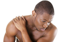 Young man with back pain Royalty Free Stock Photos