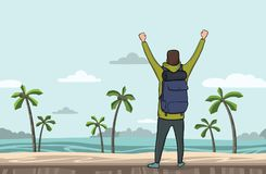 A young man, back view of backpacker with raised hands on the sea beach.   Royalty Free Stock Photos