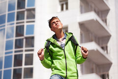 Young man with a backpack Royalty Free Stock Photos