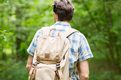Young man with backpack hiking in woods Stock Photos