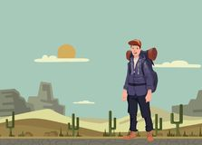 A young man, backpacker in the desert. Hiker, Explorer. Vector Illustration with copy space. A young happy man, backpacker in the desert. Hiker, Explorer Royalty Free Stock Photo