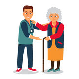 Young man with badge helping an old lady. Elder people care and nursing. Flat style vector illustration on white background stock illustration