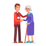 Young man with badge helping an old lady. Elder people care and nursing. Flat style vector illustration on white background royalty free illustration