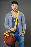 Young man with bag Royalty Free Stock Photography