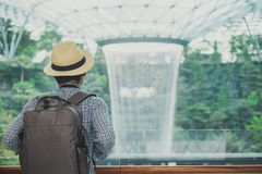 Young man with bag and hat, Asian traveler standing and looking to beautiful rain vortex at Jewel Changi Airport, landmark and stock photos