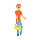 Young man with bag standing with a sign hitchhiking and raised his thumb up. Young man with bag standing with a sign hitchhiking and raised his thumb up Royalty Free Stock Photography
