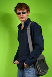 Young man with the bag, traveler Stock Photos