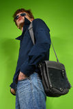 Young man with the bag, traveler Royalty Free Stock Images