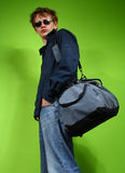 Young man with the bag, traveler Stock Image