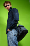 Young man with the bag, traveler Royalty Free Stock Photo