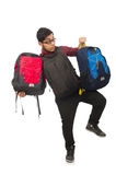 Young man with bags isolated on white Royalty Free Stock Image